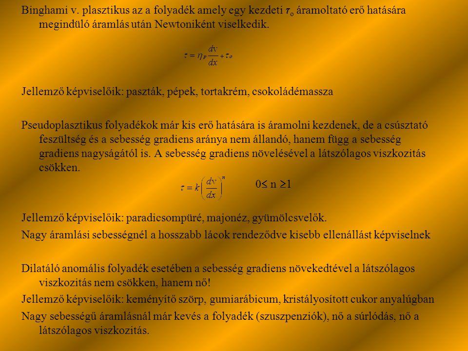 Binghami v. plasztikus az a folyadék amely egy kezdeti o áramoltató erő hatására megindüló áramlás után Newtoniként viselkedik.