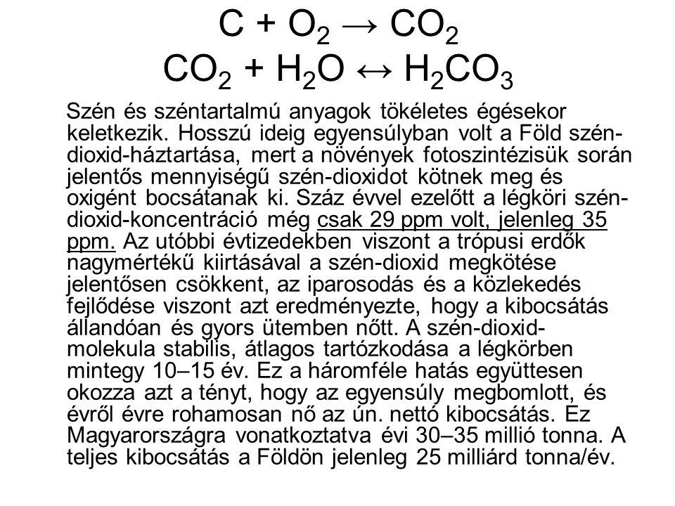 C + O2 → CO2 CO2 + H2O ↔ H2CO3