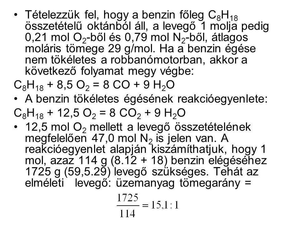 Tételezzük fel, hogy a benzin főleg C8H18 összetételű oktánból áll, a levegő 1 molja pedig 0,21 mol O2-ből és 0,79 mol N2-ből, átlagos moláris tömege 29 g/mol. Ha a benzin égése nem tökéletes a robbanómotorban, akkor a következő folyamat megy végbe:
