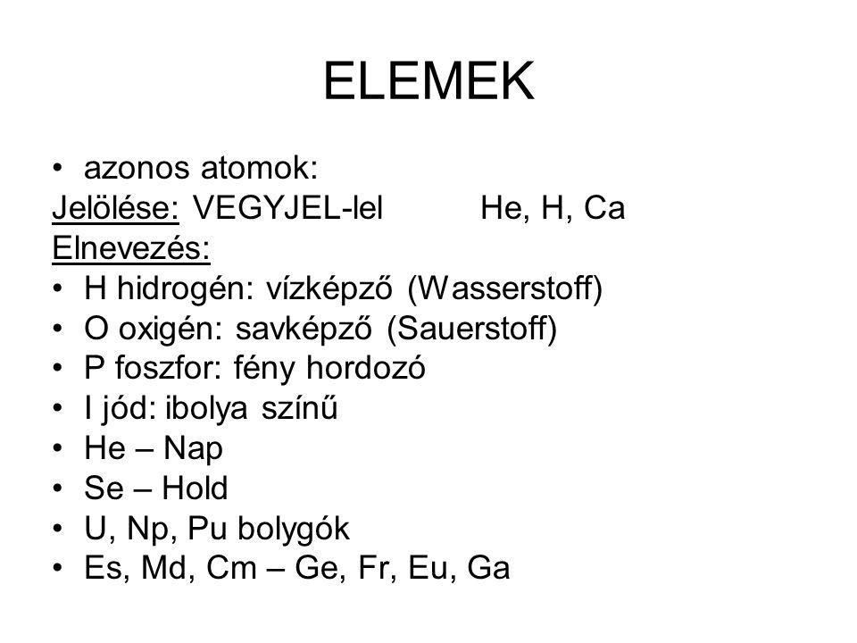 ELEMEK azonos atomok: Jelölése: VEGYJEL-lel He, H, Ca Elnevezés: