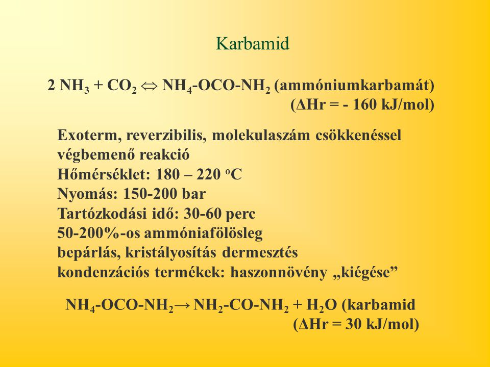 Karbamid 2 NH3 + CO2  NH4-OCO-NH2 (ammóniumkarbamát)