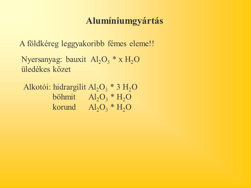 Alumíniumgyártás A földkéreg leggyakoribb fémes eleme!!