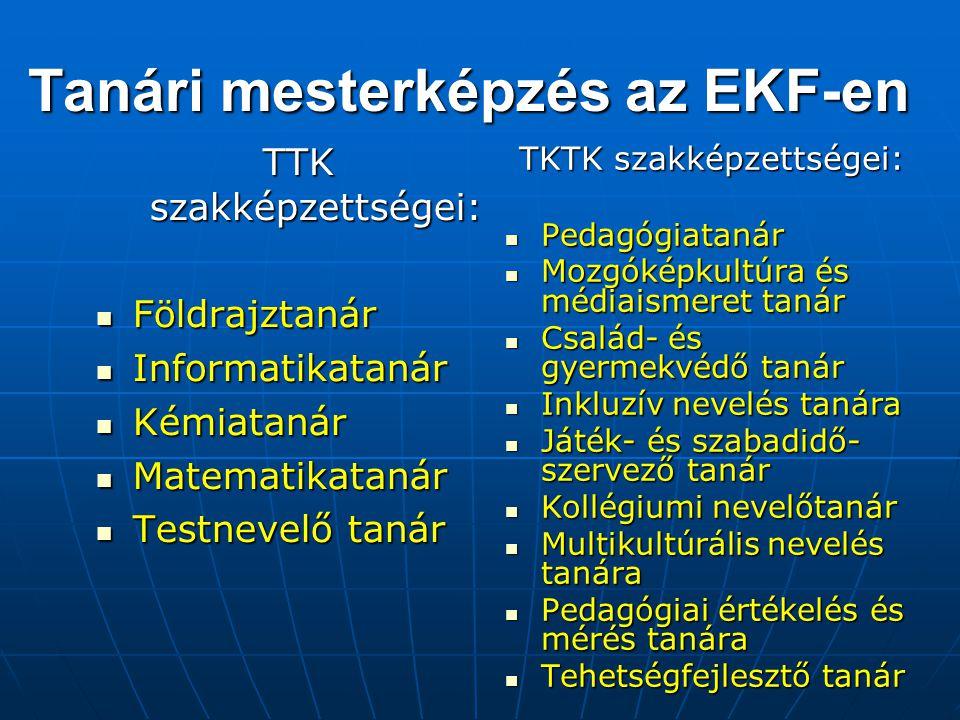 Tanári mesterképzés az EKF-en