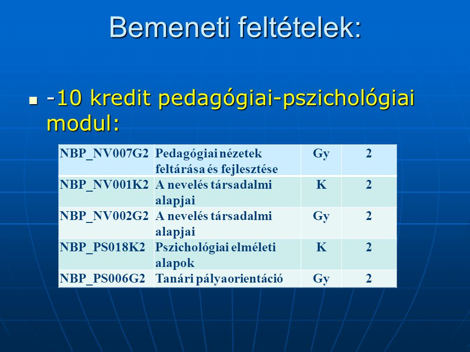 Bemeneti feltételek: -10 kredit pedagógiai-pszichológiai modul: