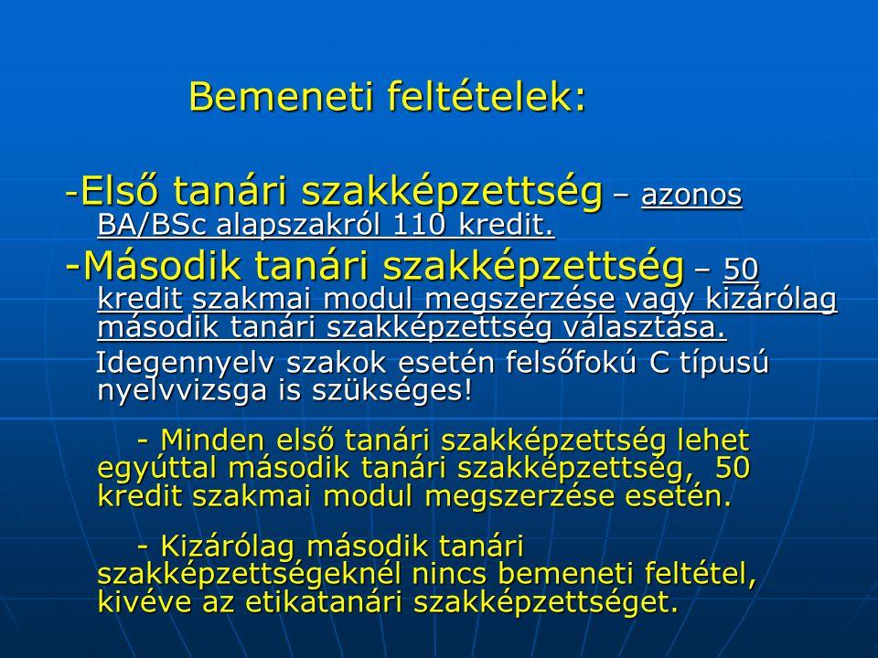 Bemeneti feltételek: -Első tanári szakképzettség – azonos BA/BSc alapszakról 110 kredit.