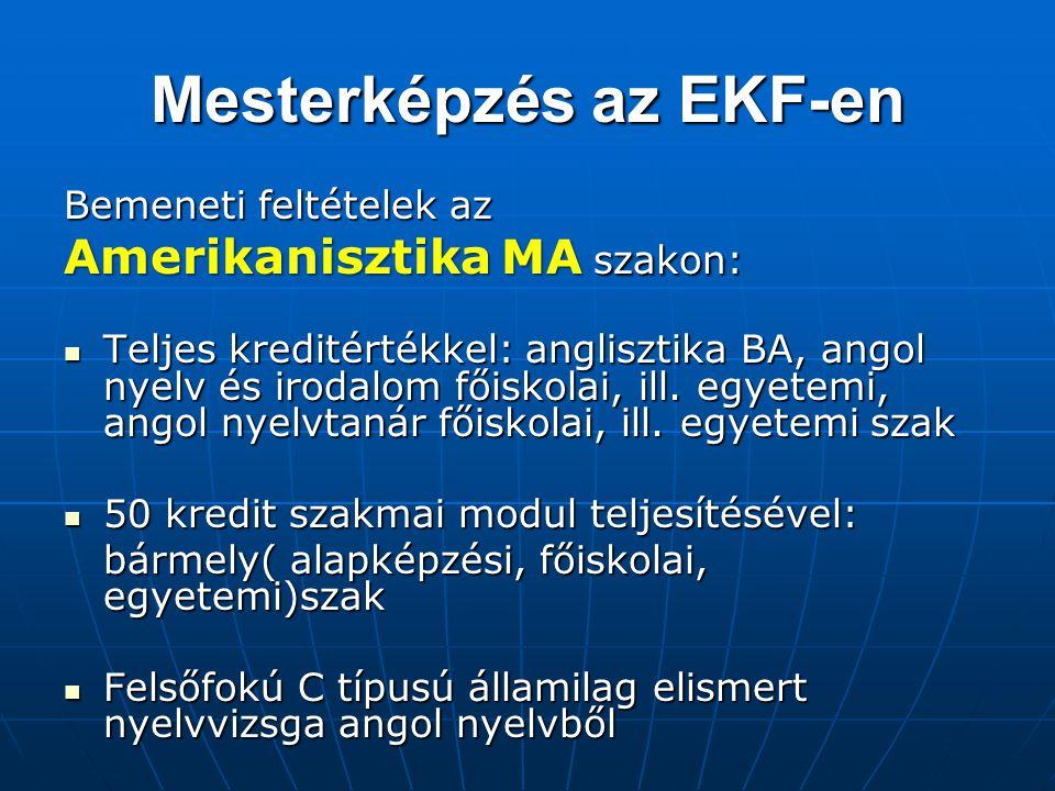 Mesterképzés az EKF-en
