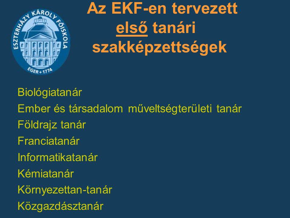 Az EKF-en tervezett első tanári szakképzettségek