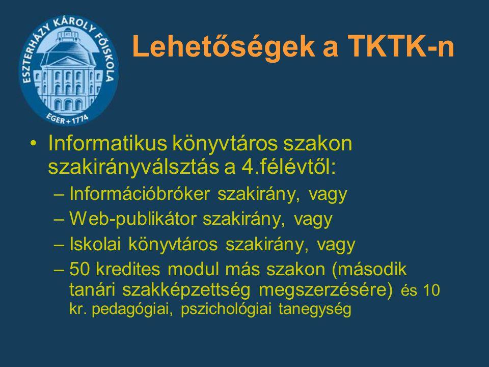 Lehetőségek a TKTK-n Informatikus könyvtáros szakon szakirányválsztás a 4.félévtől: Információbróker szakirány, vagy.