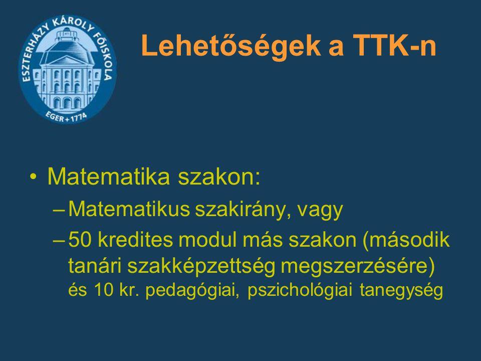 Lehetőségek a TTK-n Matematika szakon: Matematikus szakirány, vagy
