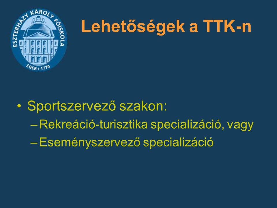 Lehetőségek a TTK-n Sportszervező szakon: