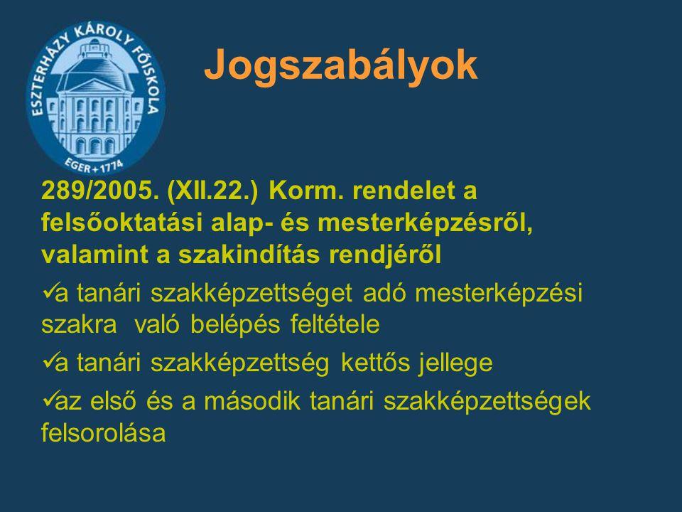 Jogszabályok 289/2005. (XII.22.) Korm. rendelet a felsőoktatási alap- és mesterképzésről, valamint a szakindítás rendjéről.