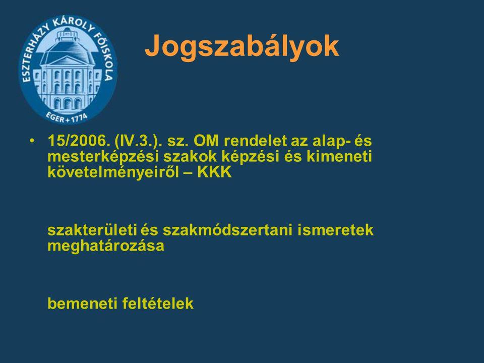 Jogszabályok 15/2006. (IV.3.). sz. OM rendelet az alap- és mesterképzési szakok képzési és kimeneti követelményeiről – KKK.