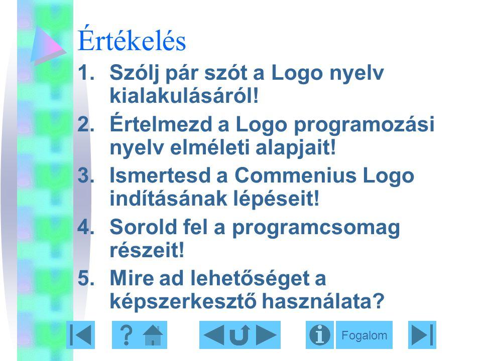 Értékelés Szólj pár szót a Logo nyelv kialakulásáról!
