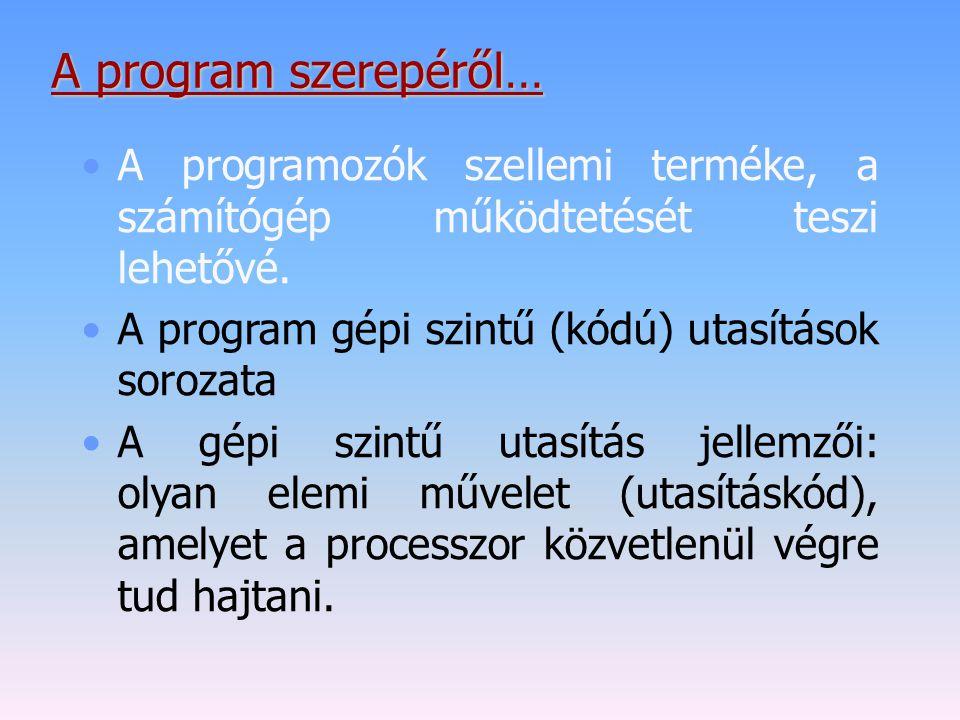 A program szerepéről… A programozók szellemi terméke, a számítógép működtetését teszi lehetővé. A program gépi szintű (kódú) utasítások sorozata.
