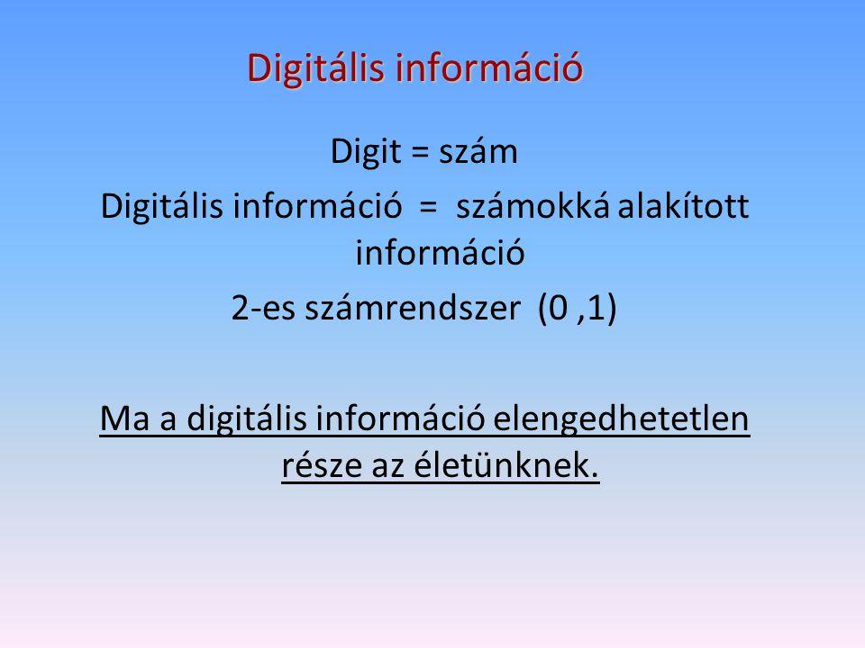 Digitális információ Digit = szám