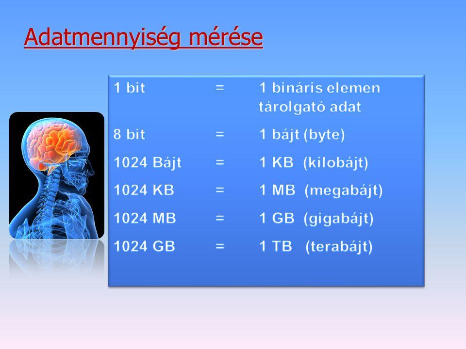 Adatmennyiség mérése 1 bit = 1 bináris elemen tárolgató adat
