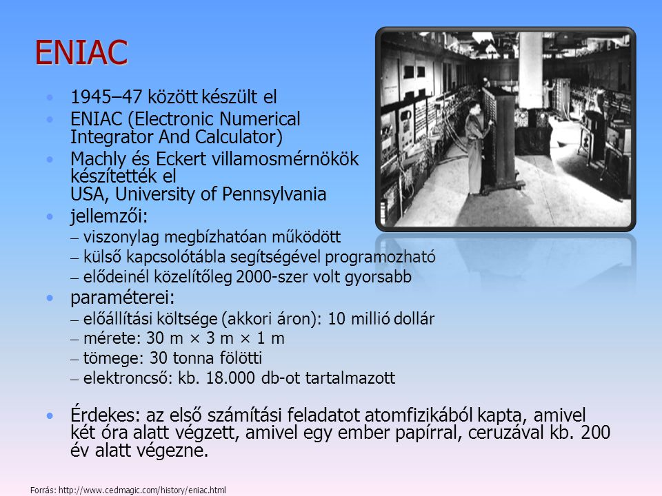 ENIAC 1945–47 között készült el