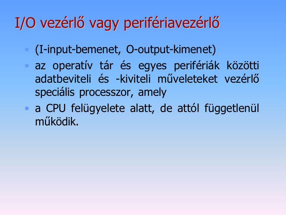 I/O vezérlő vagy perifériavezérlő