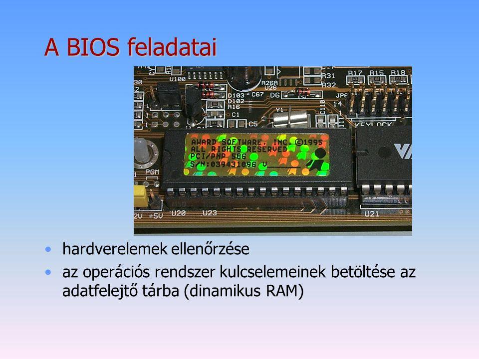 A BIOS feladatai hardverelemek ellenőrzése