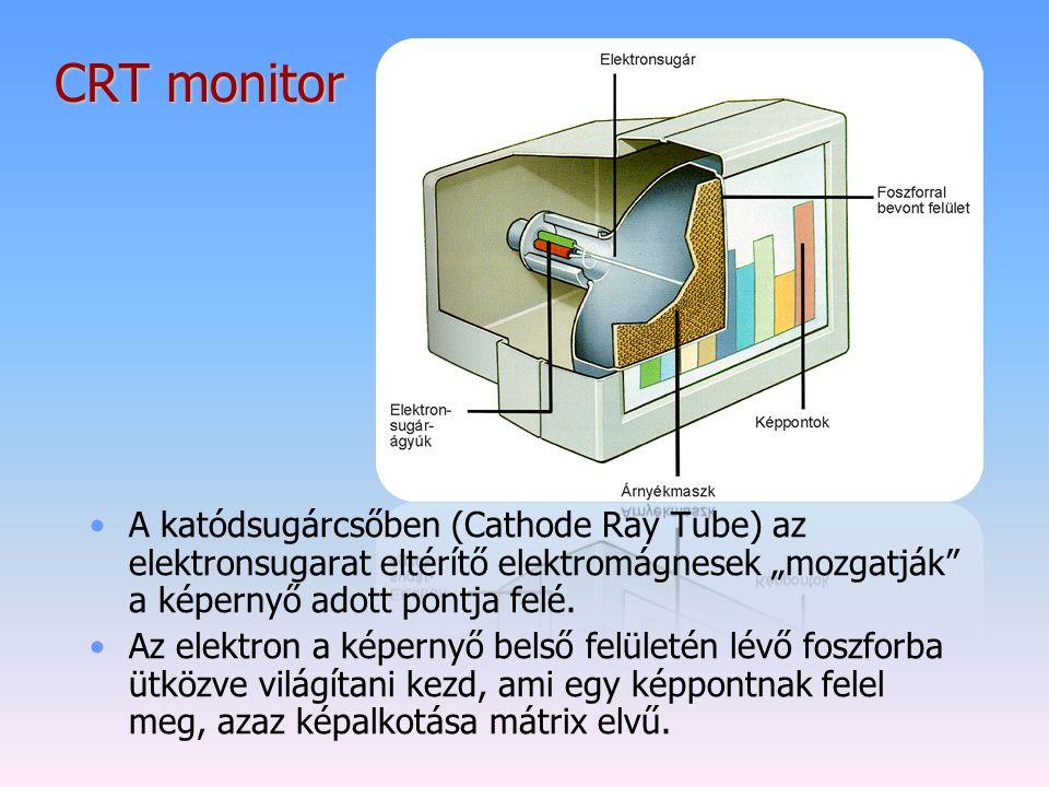 """CRT monitor A katódsugárcsőben (Cathode Ray Tube) az elektronsugarat eltérítő elektromágnesek """"mozgatják a képernyő adott pontja felé."""