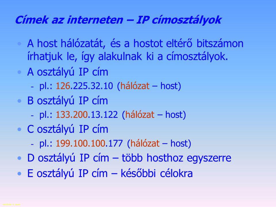Címek az interneten – IP címosztályok