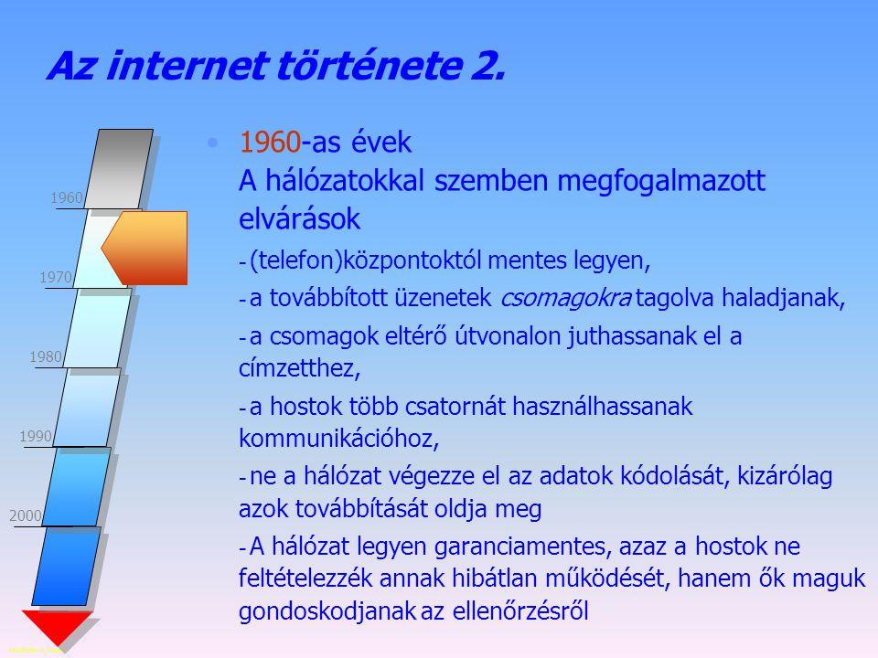 Az internet története 2. 1960-as évek A hálózatokkal szemben megfogalmazott elvárások. (telefon)központoktól mentes legyen,