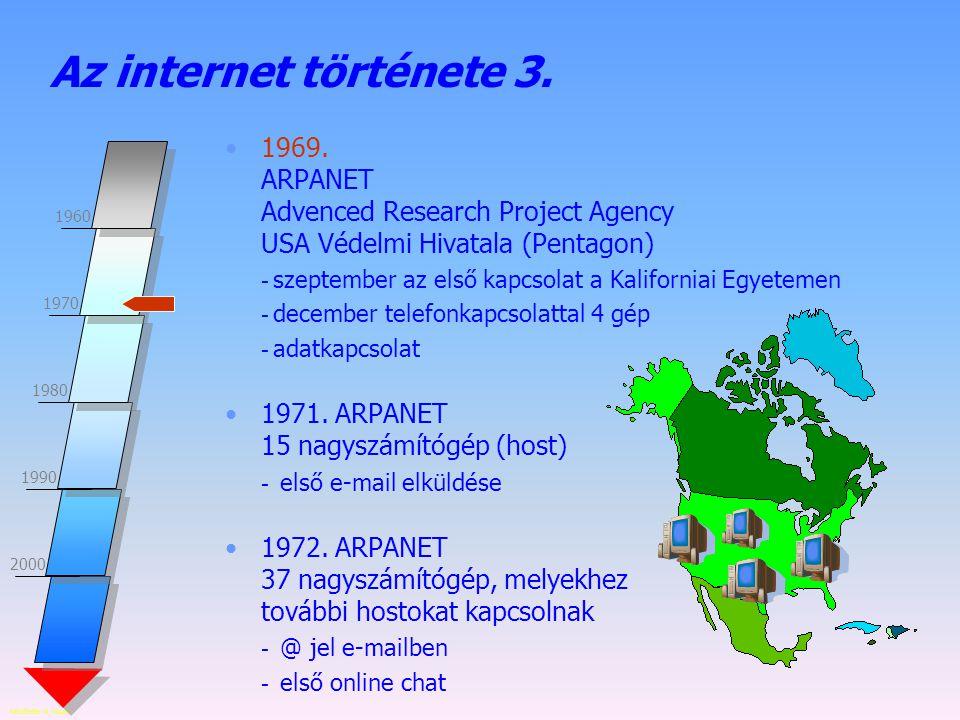 Az internet története 3. 1969. ARPANET Advenced Research Project Agency USA Védelmi Hivatala (Pentagon)