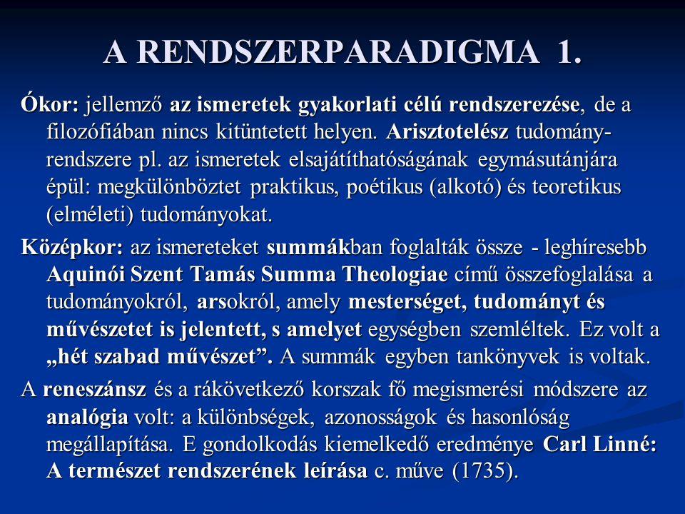 A RENDSZERPARADIGMA 1.