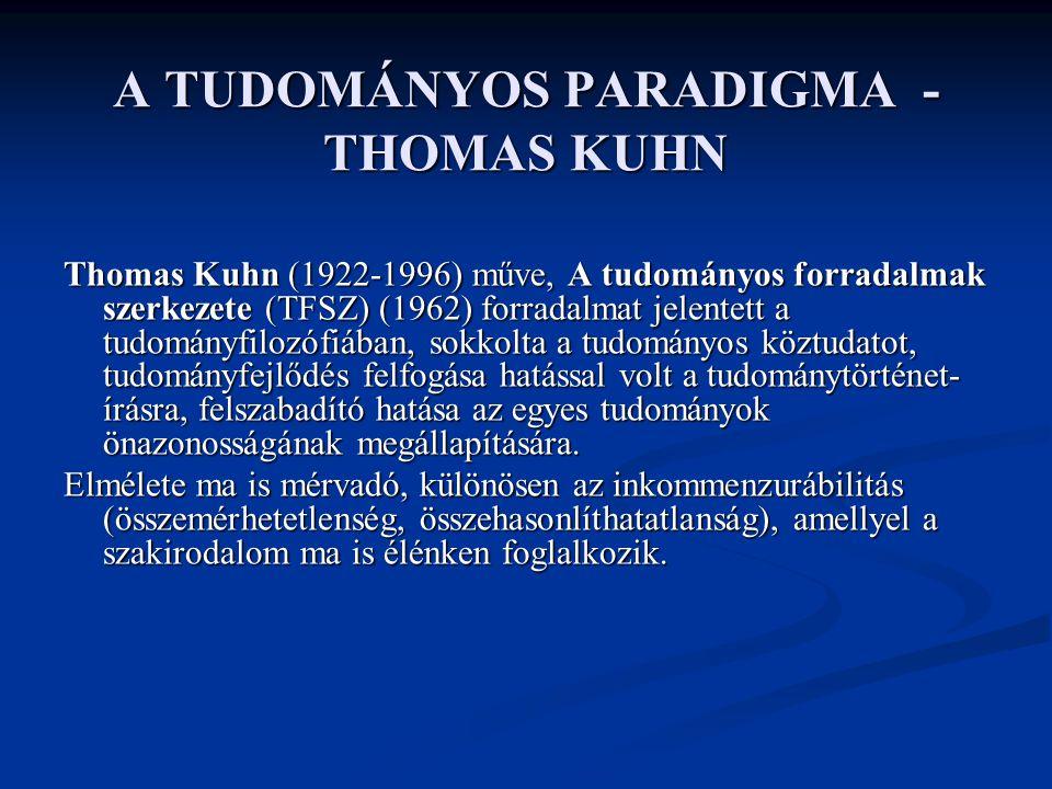 A TUDOMÁNYOS PARADIGMA - THOMAS KUHN