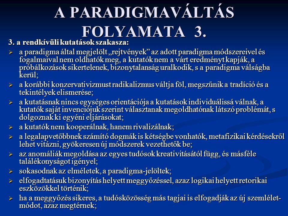A PARADIGMAVÁLTÁS FOLYAMATA 3.