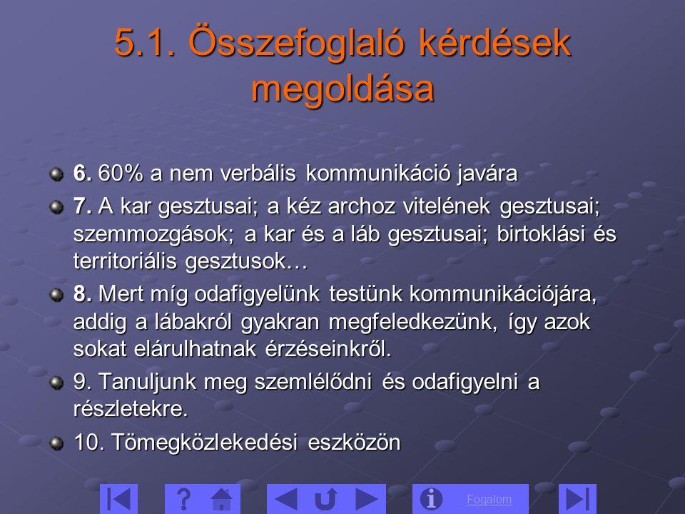 5.1. Összefoglaló kérdések megoldása