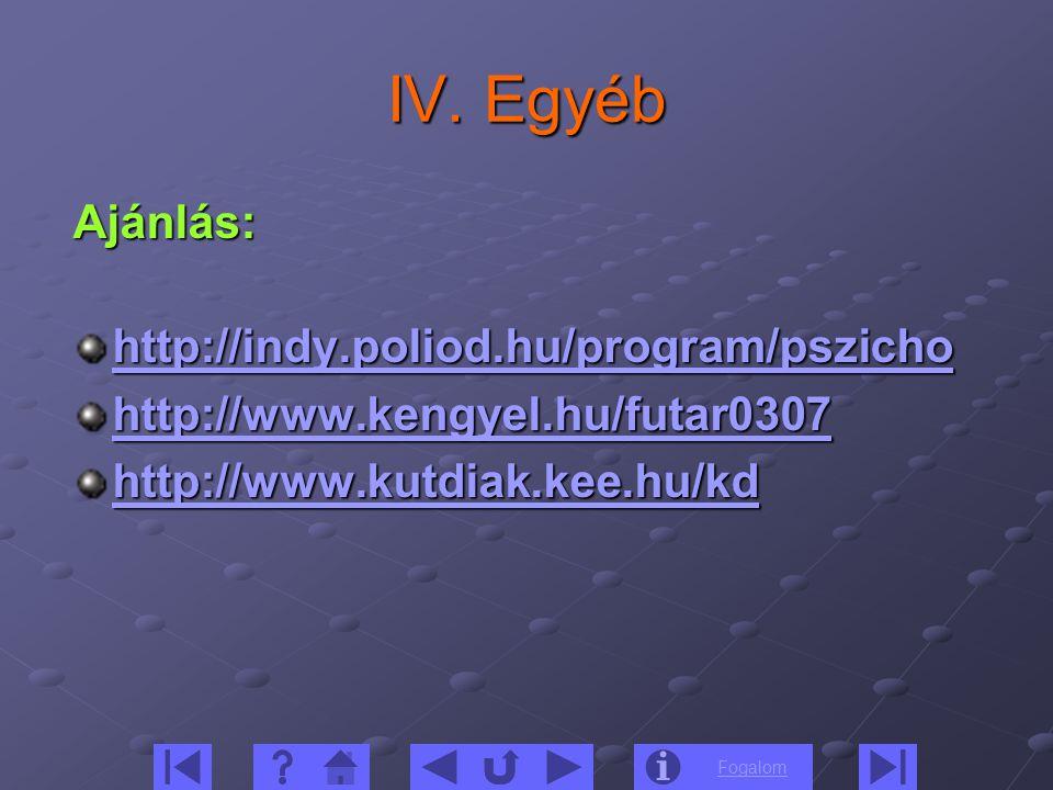 IV. Egyéb Ajánlás: http://indy.poliod.hu/program/pszicho