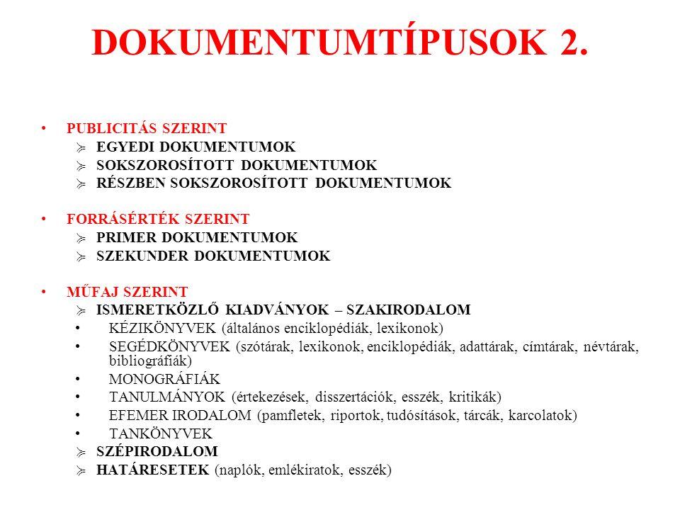 DOKUMENTUMTÍPUSOK 2. PUBLICITÁS SZERINT EGYEDI DOKUMENTUMOK