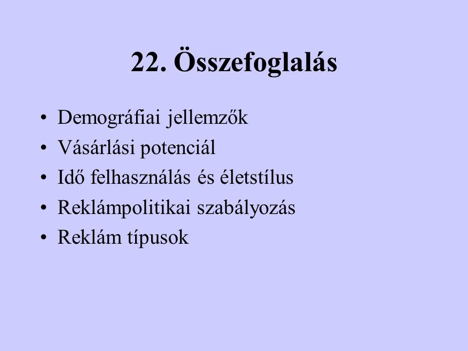 22. Összefoglalás Demográfiai jellemzők Vásárlási potenciál