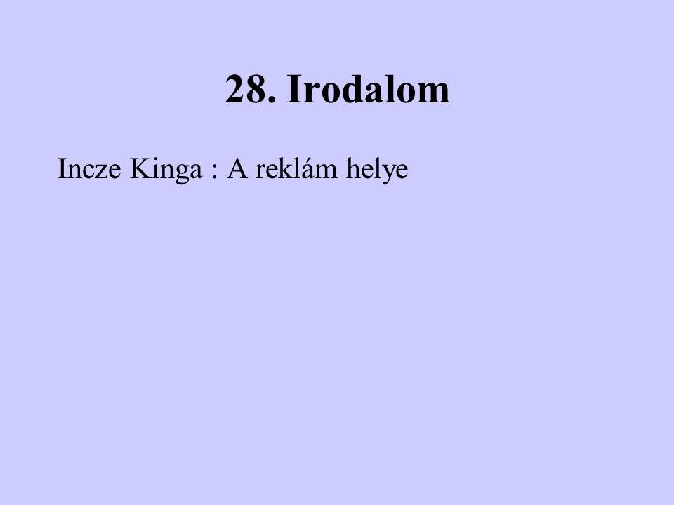 28. Irodalom Incze Kinga : A reklám helye
