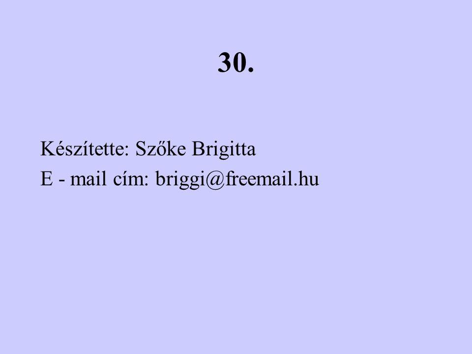 30. Készítette: Szőke Brigitta E - mail cím: briggi@freemail.hu
