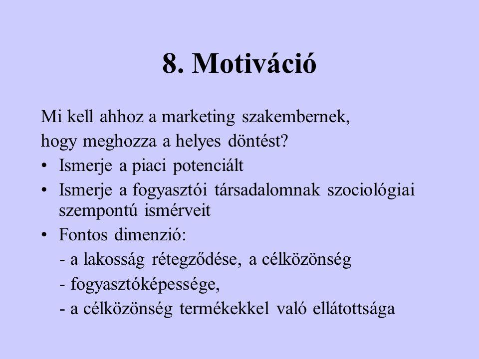 8. Motiváció Mi kell ahhoz a marketing szakembernek,