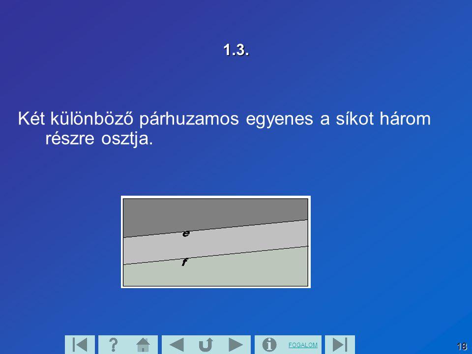 Két különböző párhuzamos egyenes a síkot három részre osztja.