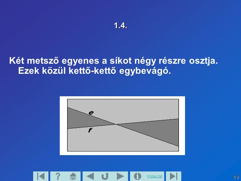 1.4. Két metsző egyenes a síkot négy részre osztja. Ezek közül kettő-kettő egybevágó.