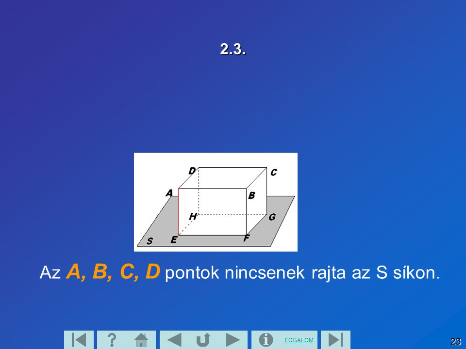 Az A, B, C, D pontok nincsenek rajta az S síkon.