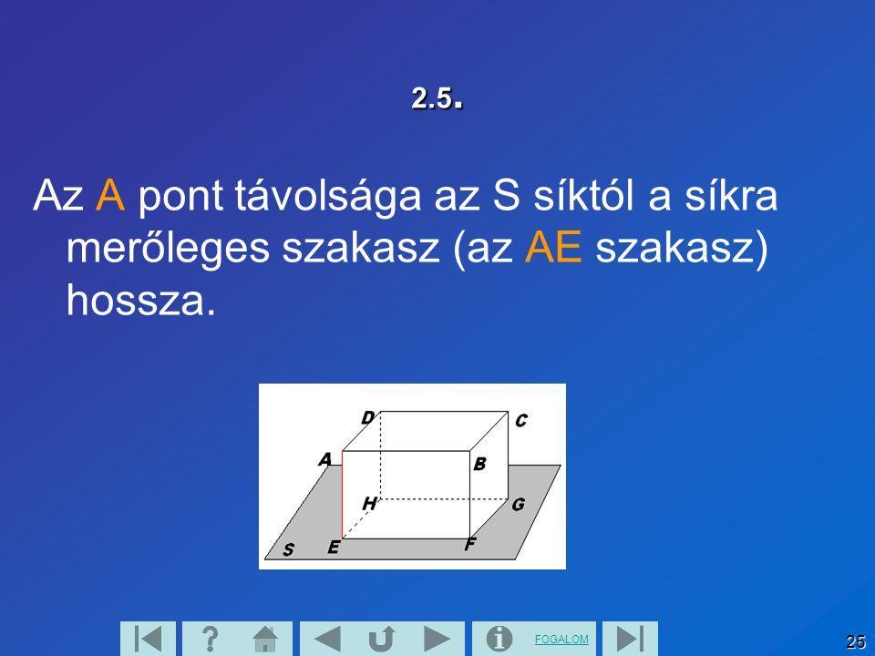 2.5. Az A pont távolsága az S síktól a síkra merőleges szakasz (az AE szakasz) hossza.