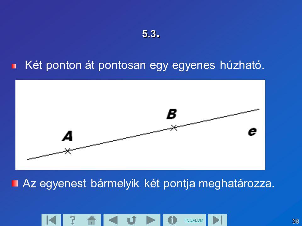 Az egyenest bármelyik két pontja meghatározza.