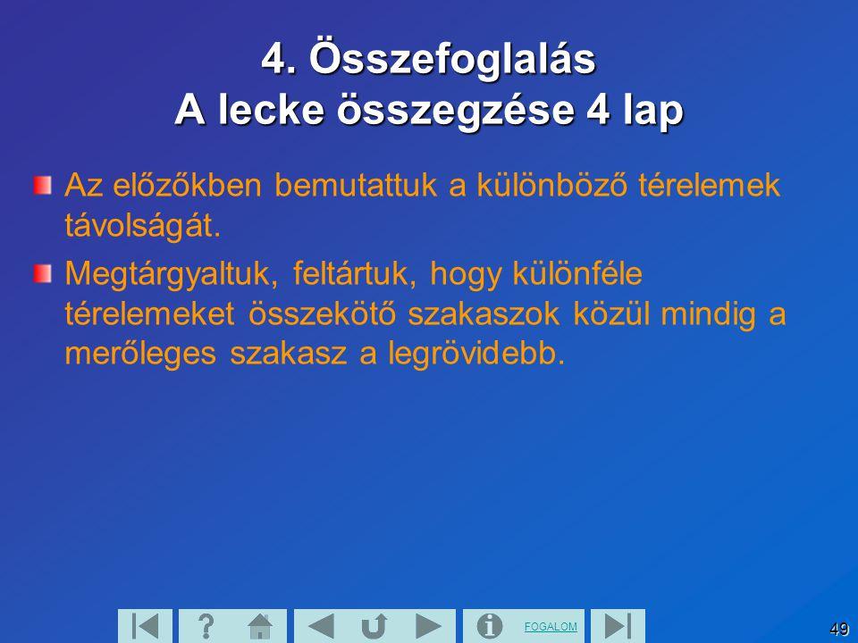 4. Összefoglalás A lecke összegzése 4 lap