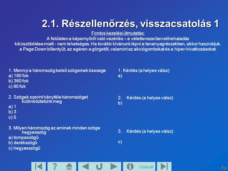 2.1. Részellenőrzés, visszacsatolás 1
