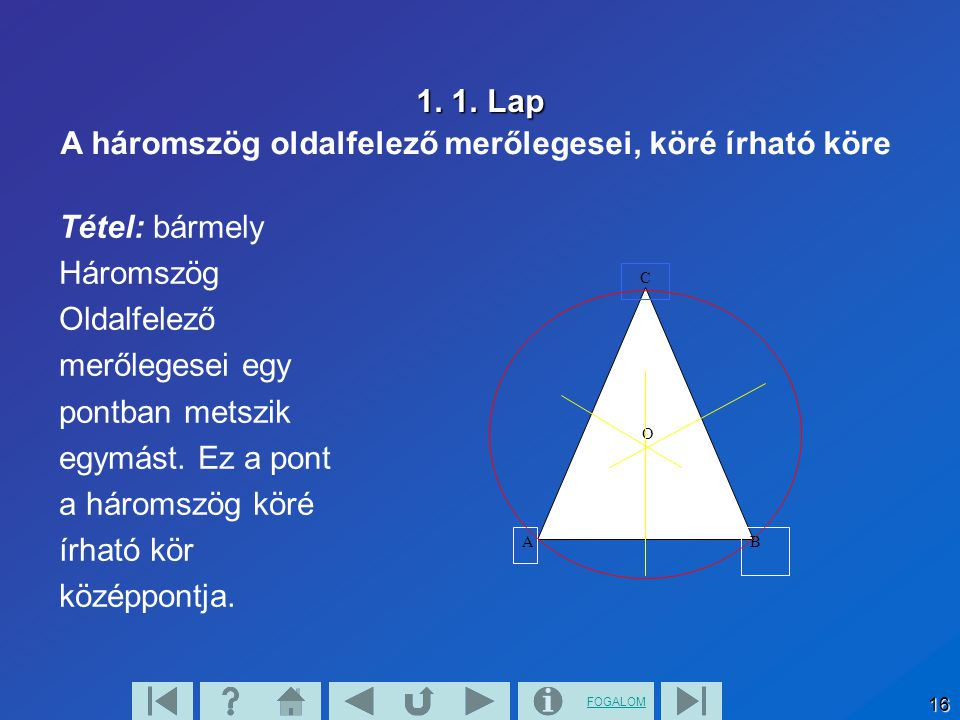 A háromszög oldalfelező merőlegesei, köré írható köre
