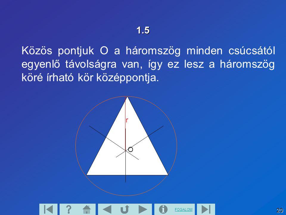 1.5 Közös pontjuk O a háromszög minden csúcsától egyenlő távolságra van, így ez lesz a háromszög köré írható kör középpontja.