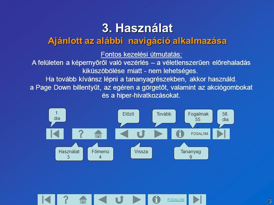 3. Használat Ajánlott az alábbi navigáció alkalmazása