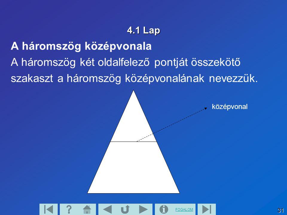 A háromszög középvonala A háromszög két oldalfelező pontját összekötő