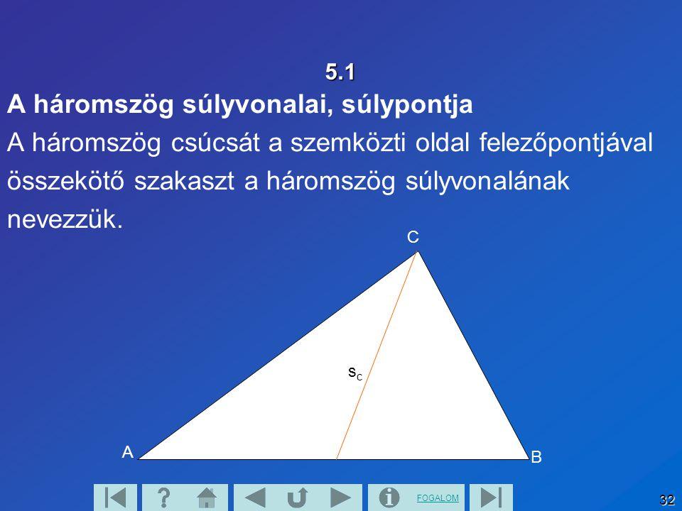 A háromszög súlyvonalai, súlypontja