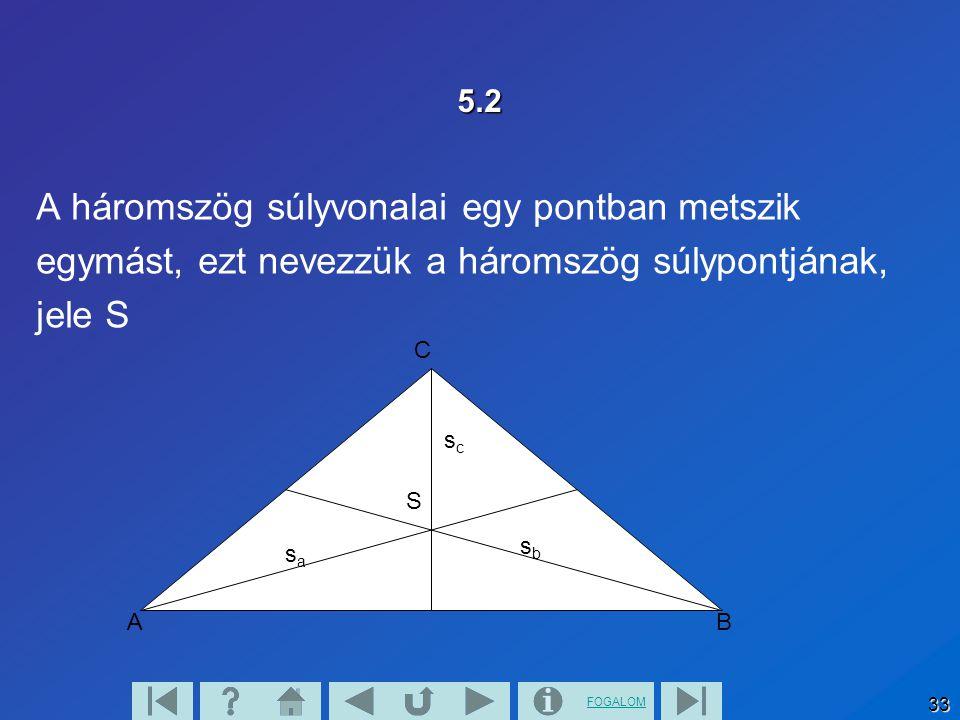 A háromszög súlyvonalai egy pontban metszik